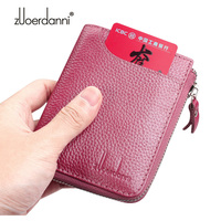 Women's Short Wallet Genuine Leather Cowhide Wallet Female Vertical Card holder Zipper Driver License Holder Case High Quality