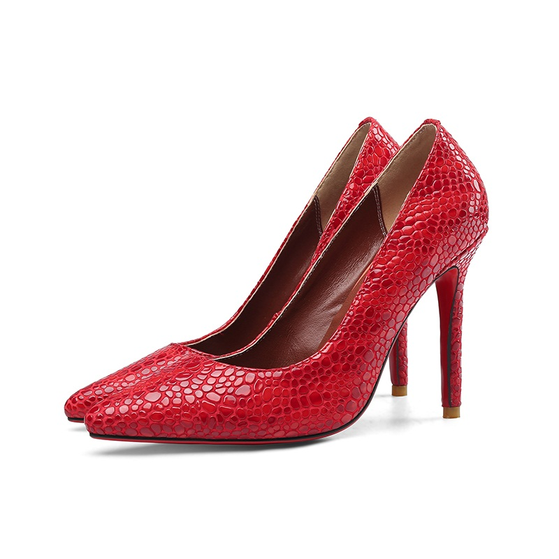 Sexy Rouges Plate Imprimer Red Pierre Bout Pointu Femmes Talons Taille Grain Pompes forme Véritable Été Chaussures Cuir Printemps Grande Hauts À apqfHxgw