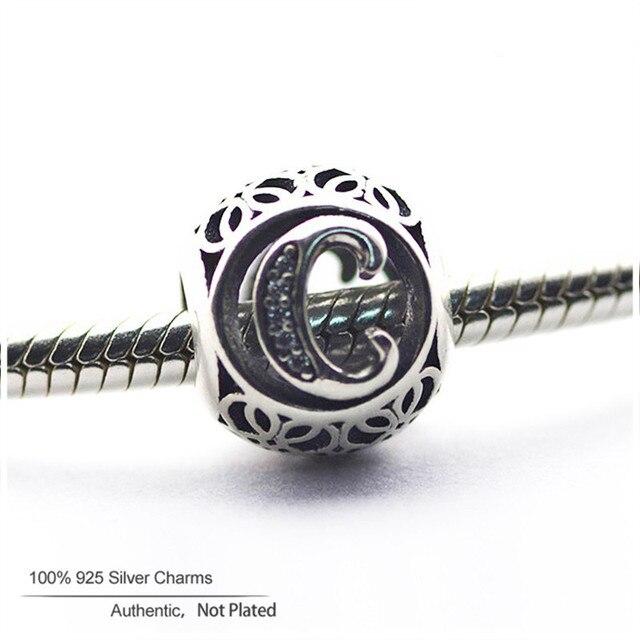 Letra c do vintage beads fit pandora encantos pulseiras bijuteria de prata 925 original diy alfabeto beads para fazer jóias presentes