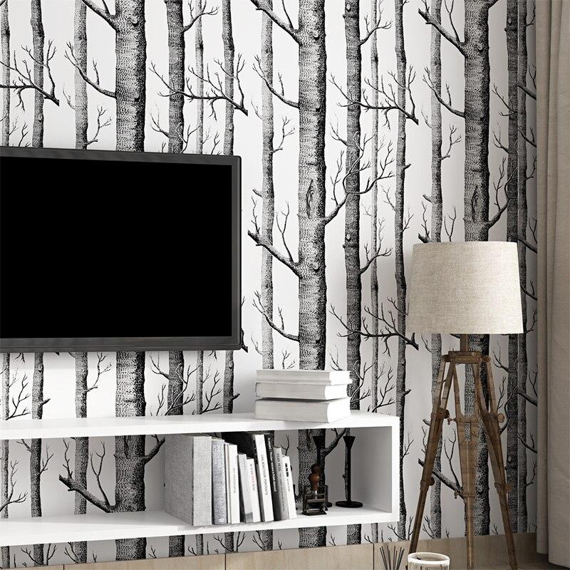 beibehang Birch tree woods modern wallpaper plain forest design ...