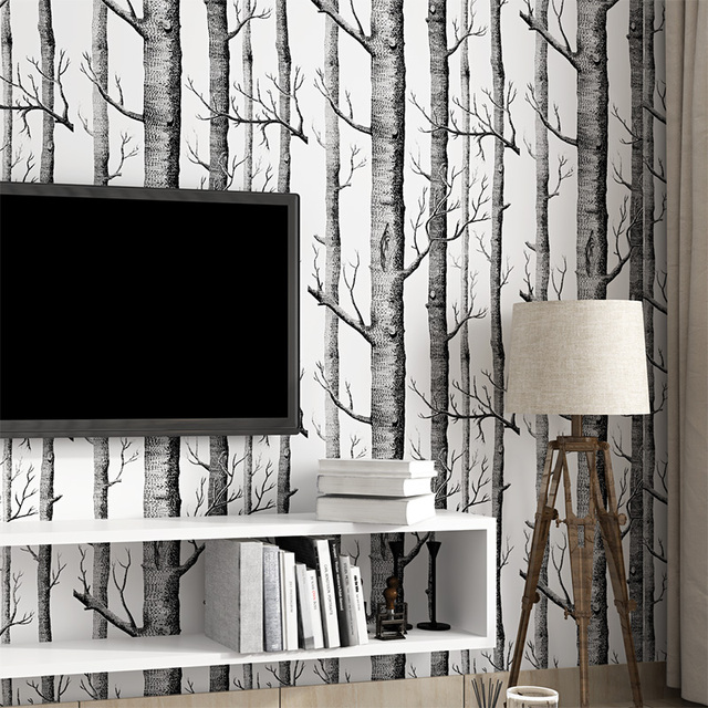 Black White Wood Forest Tree Texture 3D Embossed Flocking Non Woven Wallpaper Wallcovering Living Room