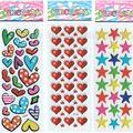 3 unids/lote Corazón Estrellas Pegatinas de Dibujos Animados para Niños y Niñas Babys Lindos conjuntos Decorativos Hermosa Pegatinas De Espuma de inteligencia # ST019