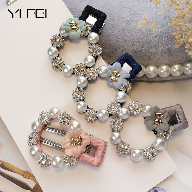 New Baby Hair Clips Rhinestone Pearls Hairpins Children Hair Accessories Flower Wrapped Bow With Pearls Princess Tiara Barrettes