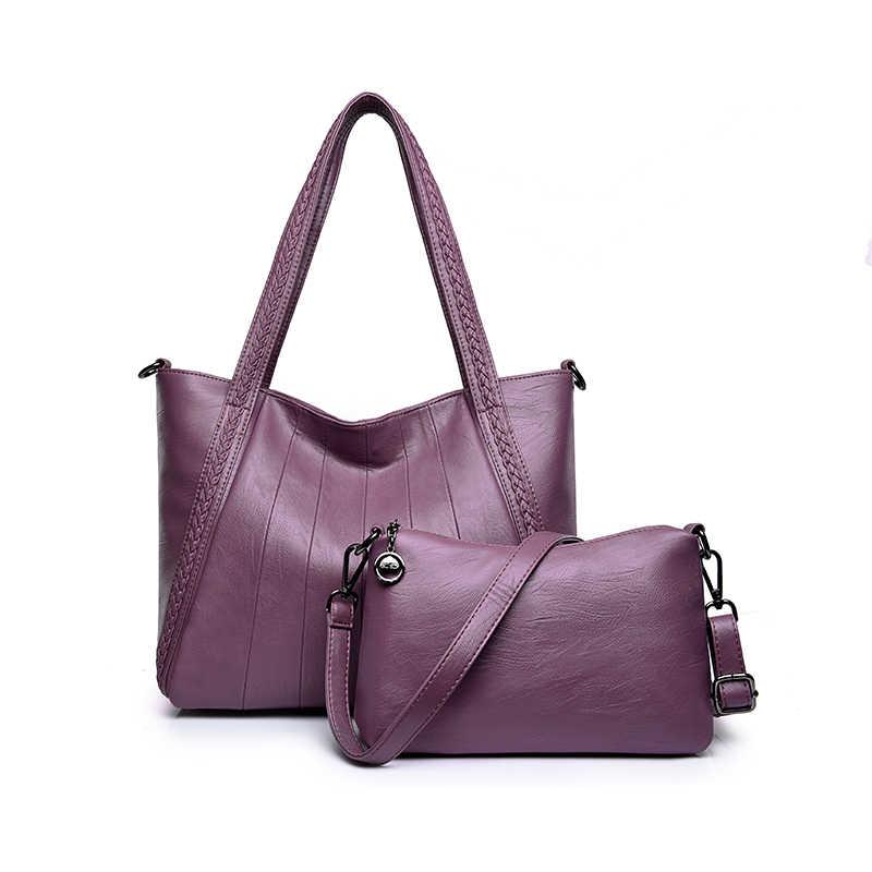 705be3406b59 ... Роскошные два комплекта сумки женские сумки дизайнерские ПУ кожаные  сумочки сумки для женщин 2018 большая ручная ...