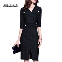 High Quality 2017 Spring Black Red Lapel Half Sleeved Office Dress Fashion Women S Business Work