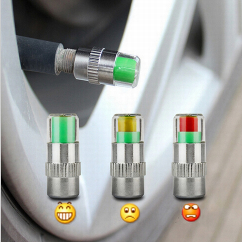 Pack of 4 Quick Pressure QP-000065 Chrome Plated Brass 65 psi Tire Pressure Monitoring Valve Cap,
