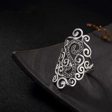 Jinwateryu S925 стерлингового серебра полые заметки в винтажном стиле личность Макси стали камень открытие дамское кольцо