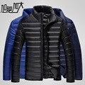 Plus tamaño ultra weightlight térmica delgada blanca de pluma de ganso chaqueta de los hombres abajo prendas de abrigo de gran tamaño M-6XL 2017 otoño invierno