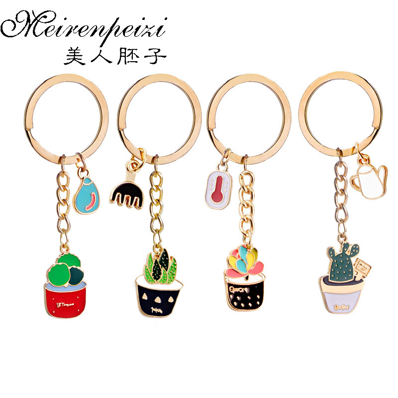 Lovely Potted Plant Cactus Succulent Shape Key Ring Keychains Keyring For Women/&