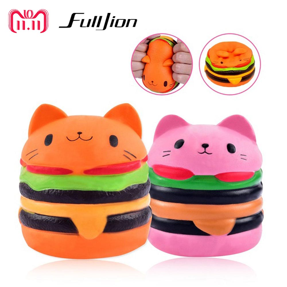 Fulljion Squishy Slow Rising Stress Relief Toys Fun Squishe Antistress Squeeze Anti-stress Hamburger Cat Squisy Wholesale Gadget цена