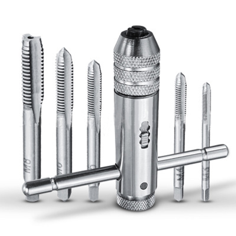 5Pcs/set Multifunction Screw Thread Plug Tap Machinist Tool Adjustable M3-M8 T-Handle Ratchet Tap Wrench Machinist Tool цена