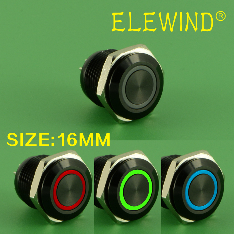 ELEWIND 16mm Black RGB color ring illuminated push button switch(PM161F-10E/J/RGB/12V/A 4pins for led) hot 16mm ring illuminated latching push button 2no2nc pm162f 22ze b 12v a ce rohs