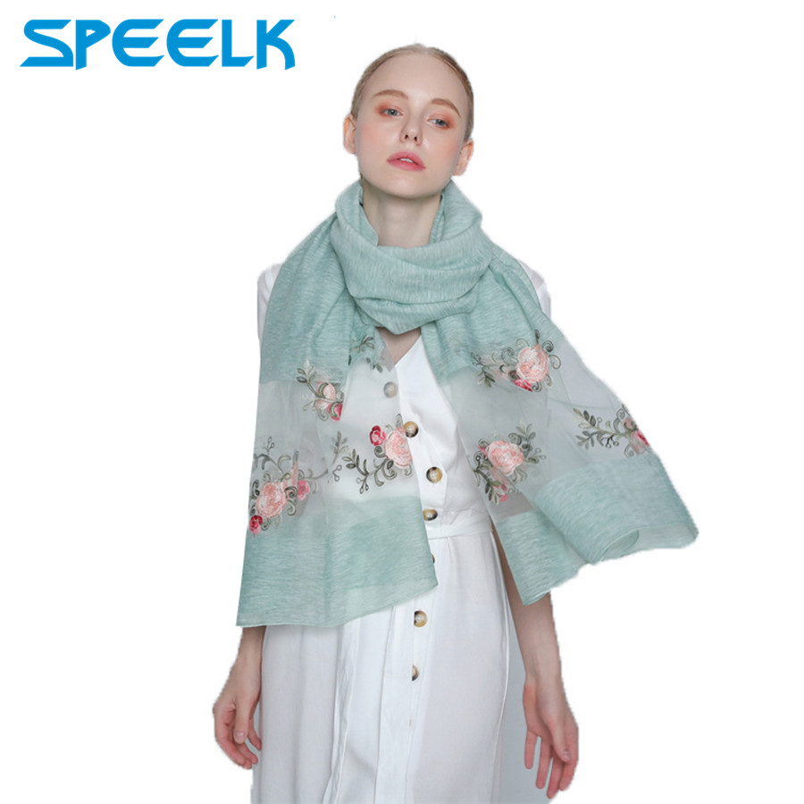 2019 Luxury brand new silk   scarves   women fashion   Scarf   Femme Flower Shawls and   Wraps   Summer Beach Stole Bandana Female Foulard