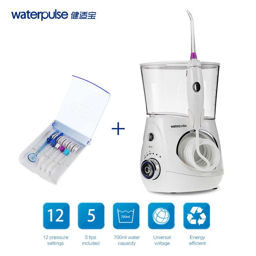 Waterpulse V660 Oral Irrigator Dental Flosser Power Dental Floss Water Jet Oral Care Teeth Cleaner Irrigator With 5 Tip & 700ml electric oral teeth dental water flosser dentistry power floss irrigator jet cleaning mouth cavity oral irrigador accessories