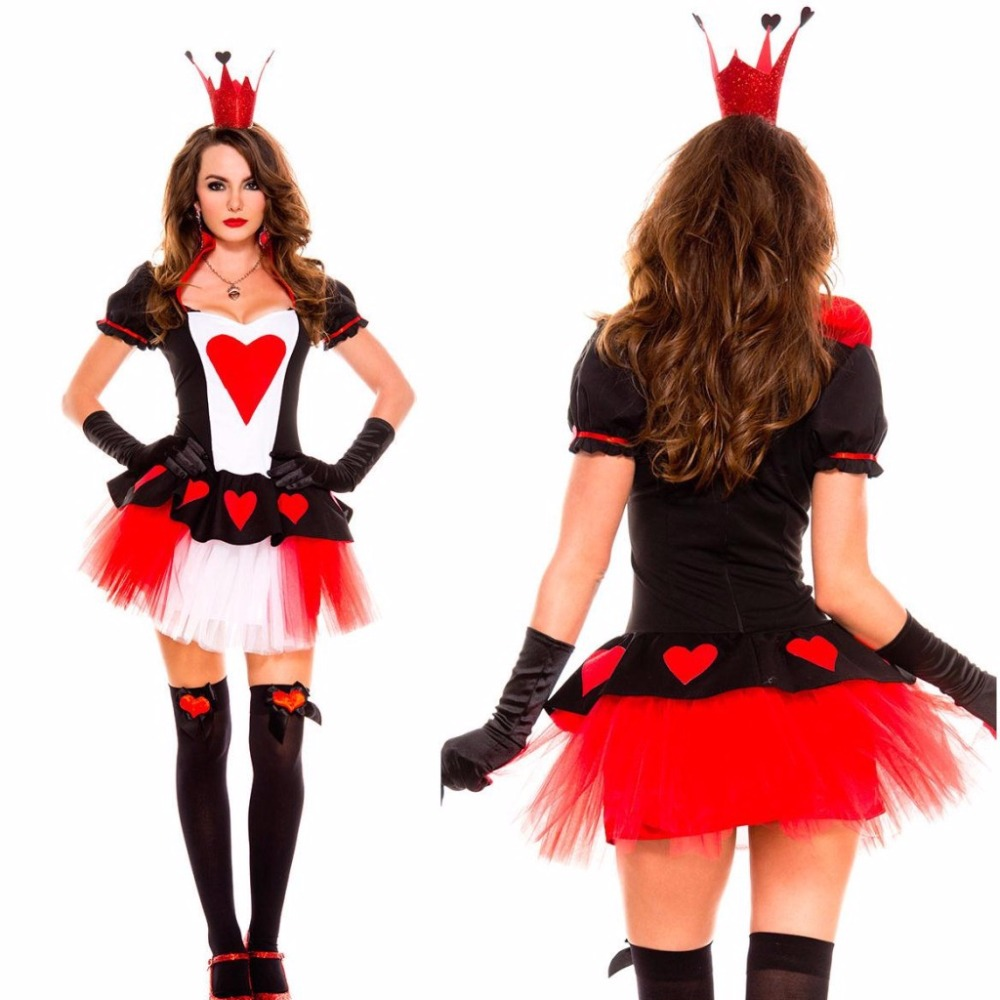 The Queen Of Hearts Cosplay Sexy Costumes Dress and Head Wear Gloves Set Halloween Costumes For Women Without Legging