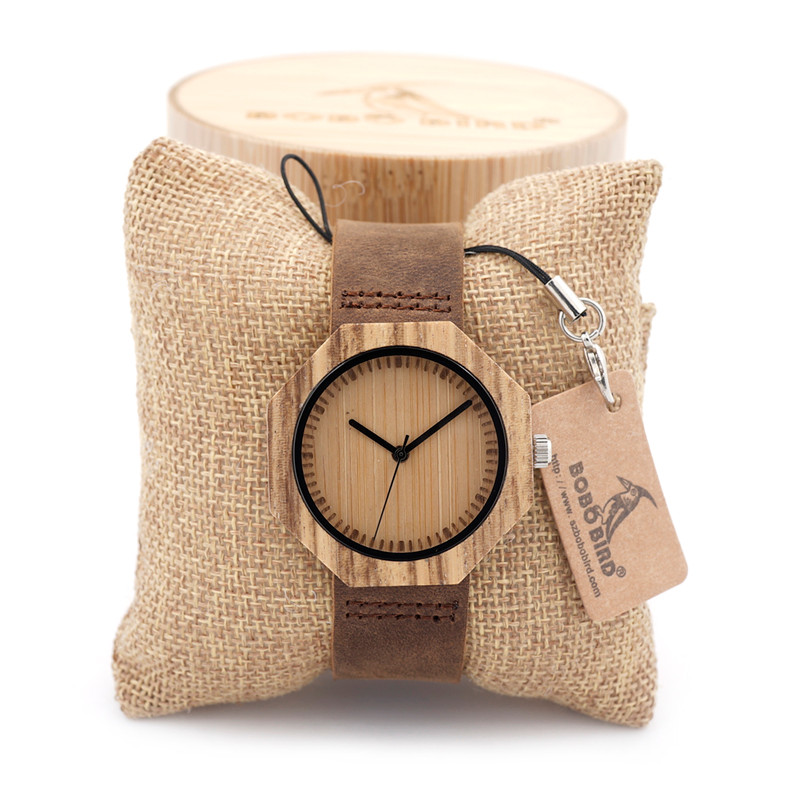 BOBO BIRD Womens Retro Octagonal Wooden Bamboo Watch with Genuine Leather Straps With Extra Wide Bracelet