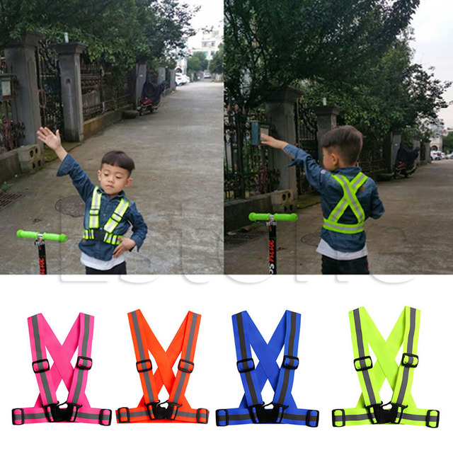 Kids Adjustable Safety Security Visibility Reflective Vest Gear Stripes Jacket 2