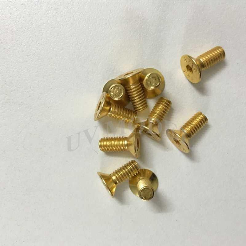 10 мм Позолоченные M4 плоской головкой и крестообразным шлицем шестигранное гнездо потайной болт Кепки 10 шт./партия Бесплатная доставка