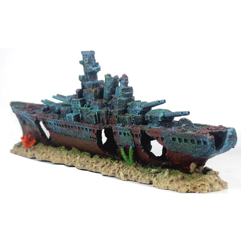 NEW 49cm Navy Warship Batttle Ship Resin Boat Aqaurium Tank Fish Decoration Ornament