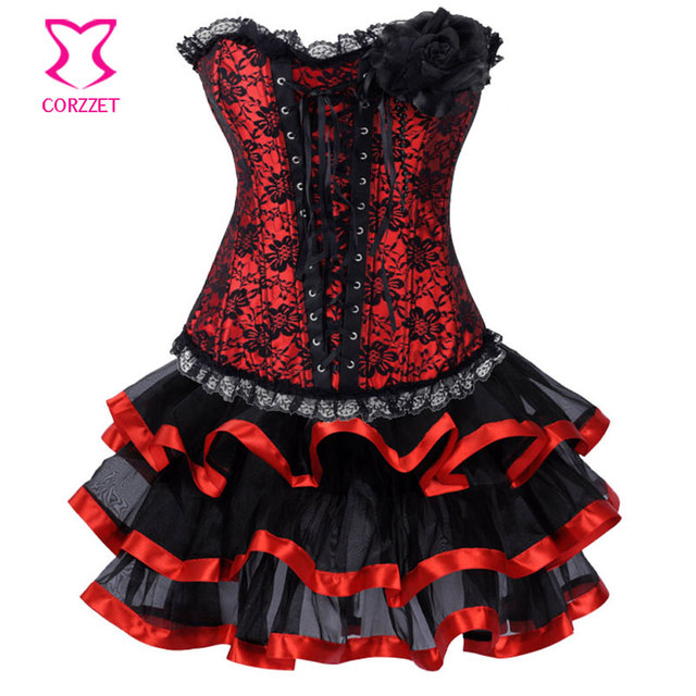 Corzzet Lolita Sexy Lingerie Lace Overlay Satin Strapless Corset  Dress Burlesque Party Clubwear Women Tops  Lace Short Dress