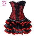 Espartilho vitoriano vestido preto/vermelho floral lace corset top com tule tutu saia mulheres góticas vestidos para festa burlesca clubwear