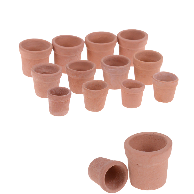 Provided 12pcs/lot Red Clay Garden Flower 1/12 Dollhouse Pot Flowerpot Simulation Model Toy Miniature Doll Houses Accessories Good Companions For Children As Well As Adults Doll Houses
