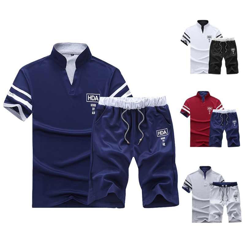 Summer Tracksuit Mens Short Sleeve + Shorts Suit Male Solid Jersey Breathable 2PC Top Short Set Fitness Sportsuits Set