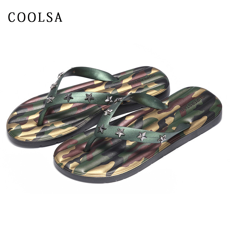 c4d59426627b1 US $11.89 30% OFF Men Flip Flops Camouflage Slippers Soft Non Slip Beach  Sandals Flat Slides Metal Rivet Indoor Slippers Summer Casual Male Shoes-in  ...