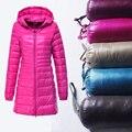 2017 Limitada Top Fashion de Manga Longa de Inverno das Mulheres Com Um capô Para Baixo Casaco Plus Size Fino Médio-longo Outerwear Feminino 6806