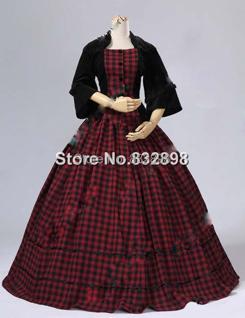Civil War Victorian Velvet font b Tartan b font Ball Gown Dress Party Dresses