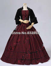 Civil War Victorian Velvet Tartan Ball Gown Dress/Party Dresses