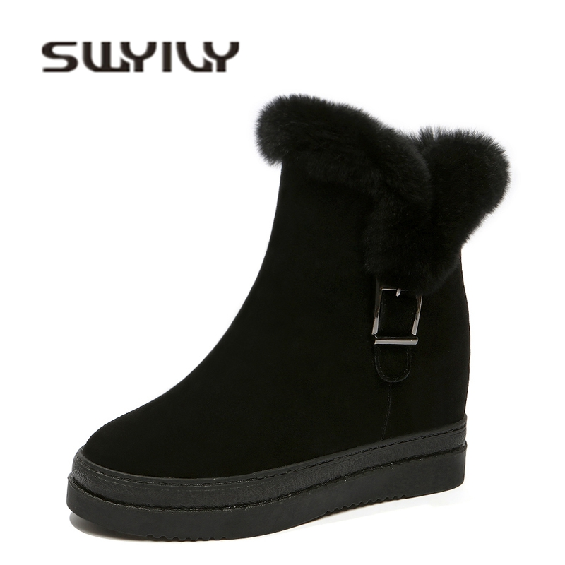 SWYIVY Woman Ankle Boots Wedge Heel 2018 Winter Rabbit Fur High Top Female Casual Shoes Platform Genuine Leather Snow Boots Nice 2018 genuine leather snow boots platform woman autumn winter female warm snow boots shoes wedge ankle boots shoes woman suede