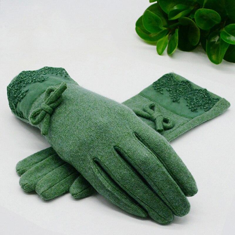 Wolle Kaschmir Warme Handschuhe für Frauen Winter Mode Bogen Dekorationen Weibliche Volle Finger Handschuhe Gute Qualität Fäustlinge Feminina Luva