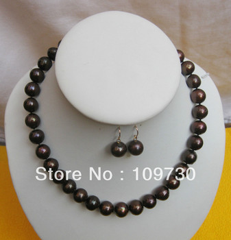 """Jewelry 00348 RARE Cultivation 12-13MMSOUTH SEA dark chocolate PEARL NECKLACE 18""""+earring 14KGP"""
