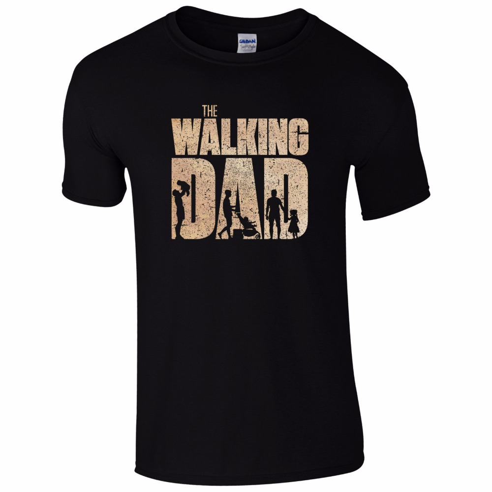 The Walking Dad T-Shirt Funny Dead Fan Fathers Day Dads Present Mens Gift Top Short Sleeve Mens Formal Shirts