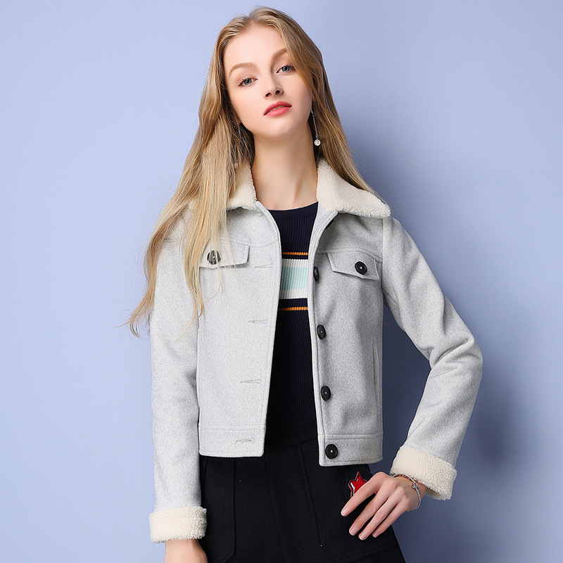 2016 Winter New Brand Women Casual Lapel Single-breasted Wool Coat Solid Short Paragraph Straight type Motorcycle Jacket Casaco