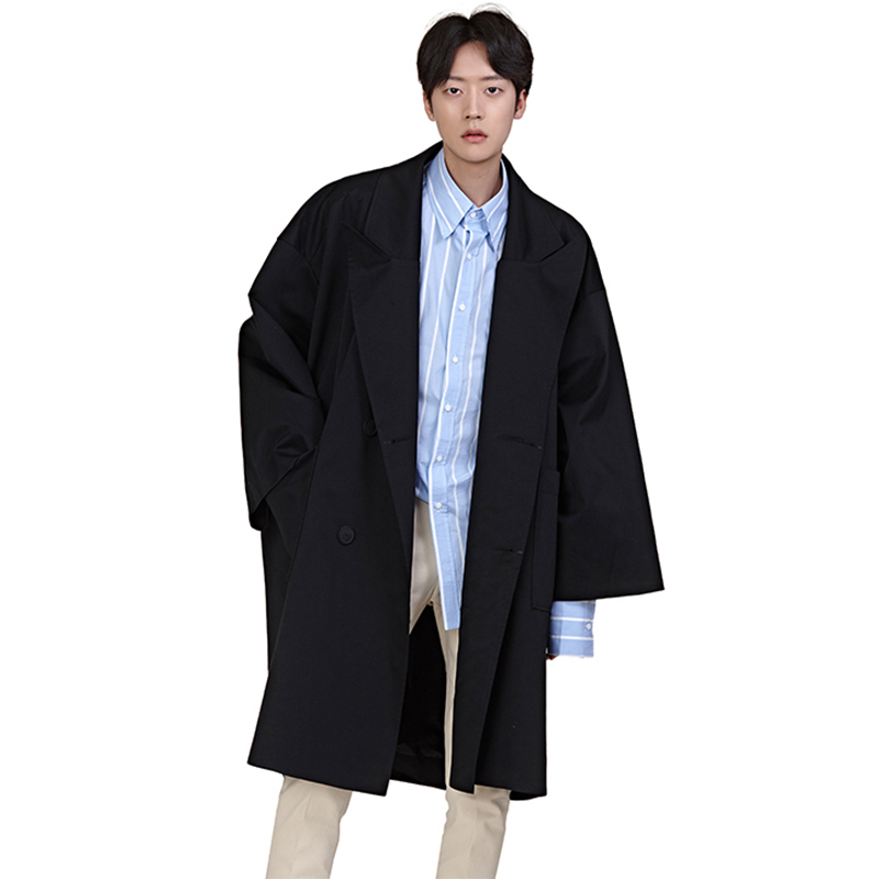 3 Colors Men Fashion Double Breast Loose Trench Jacket Male Oversize Long Windbreaker Outerwear Cardigan Jacket