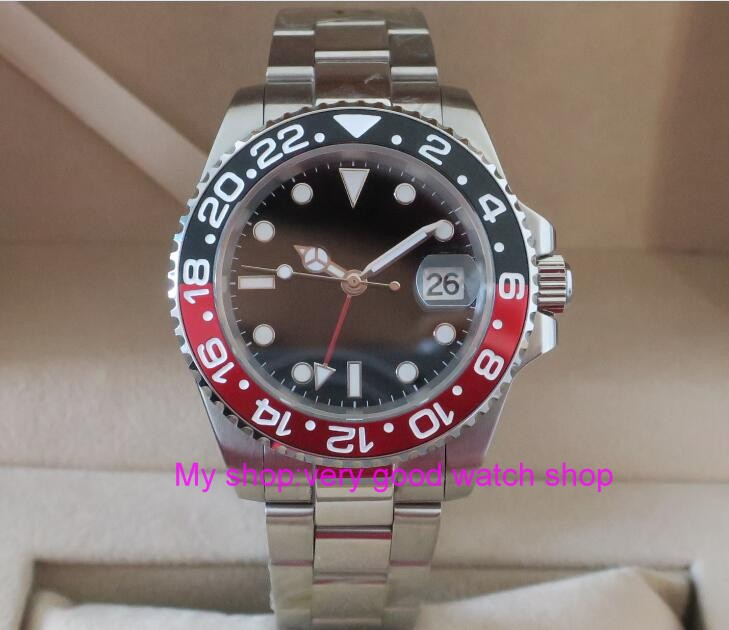 40MM PARNIS GMT Automatic Self-Wind movement Red&black  bezel Sapphire Crystal luminous men's watch  gn01 40mm parnis japanese automatic self wind movement sapphire crystal gmt men s watch gl25