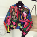 New fashion personality Cat patch embroidered jacket women stand collar long sleeve loose jacket outwear T710