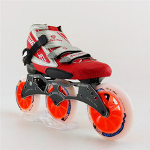 Professional adults women/men speed skating shoes inline skate boot roller skates blue/red shoes with 3 wheel