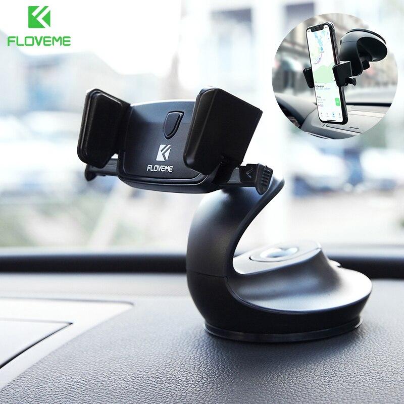 FLOVEME Universal Windshield Auto Lock Car Phone Holder For Xiaomi Redmi Note 7 Mi 9 3 in 1 Desk iPhone