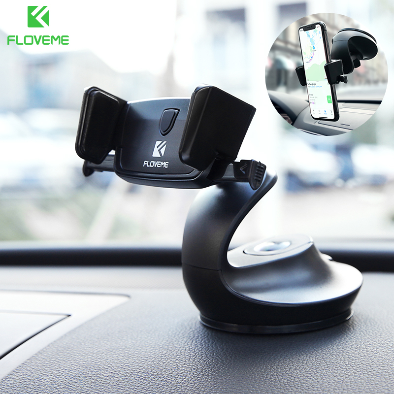 FLOVEME Windshield Auto Lock Car Phone Holder For Xiaomi Redmi Note 7 Pro Universal 3 In 1 Desk Phone Holder For Phone In Car