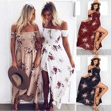 Летнее платье 2018 Новая мода плюс Размеры Повседневное Макси пляжное платье Для женщин пикантные с открытыми плечами короткий рукав цветочный Длинные вечерние платья