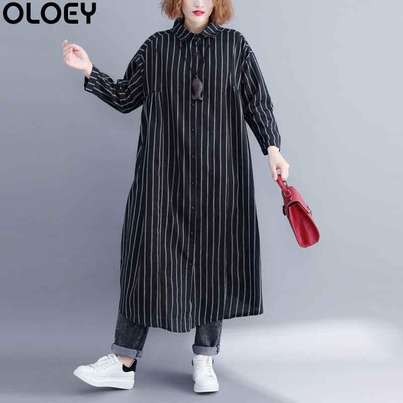 2019 coréen femmes Blouses hauts coton lin bureau rayé décontracté Vintage chemise de grande taille Long Kimono lâche Blouse vêtements 5XL