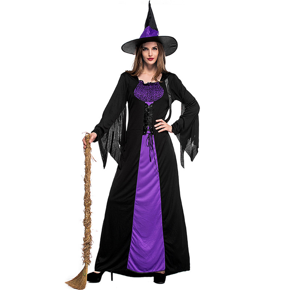 <font><b>Adult</b></font> <font><b>Halloween</b></font> Witch Costume For <font><b>Women</b></font> <font><b>Sexy</b></font> Purple Braces Dress Hat Carnival Party Female Suit image