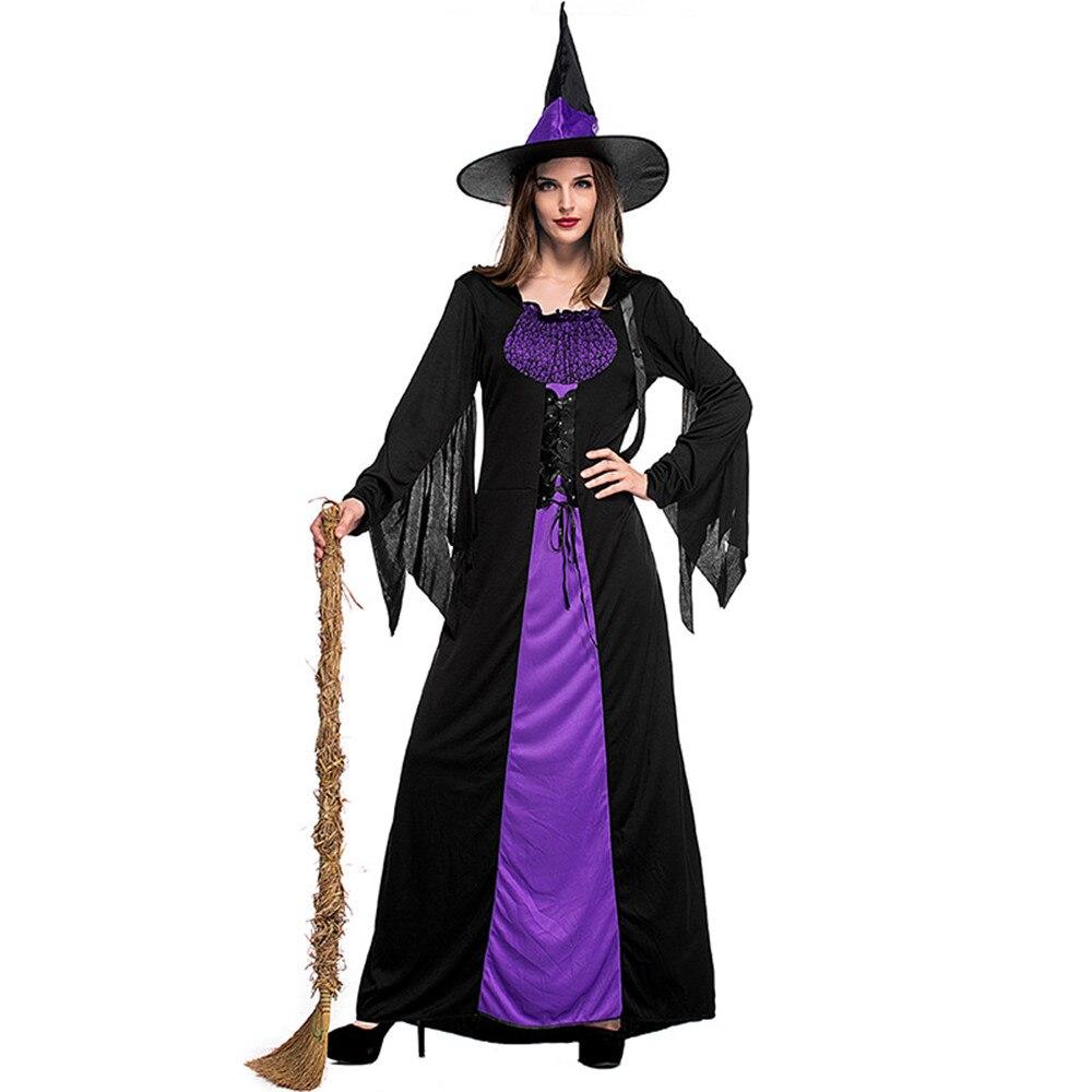 Adulto Costume Strega di Halloween Per Le Donne Sexy Viola Bretelle Del Vestito Cappello di Carnevale Del Partito del Vestito Femminile