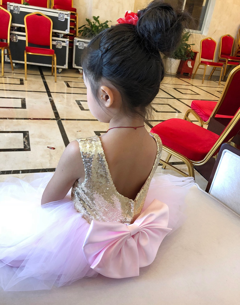 Pink Teen Wedding Dress Sequin Knee Length O-neck Paillette Girls Sequin Dress for Girls Sequin Evening Dress Tutu with Bowknot (9)
