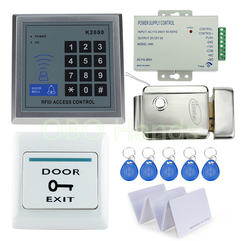 RFID Door Access Control System Kit Set with electric control lock digital keypad+power supply+door exit button+rfid key cards full complete rfid door access control system kit digital keypad with electric strike lock power supply 10pcs id key chains