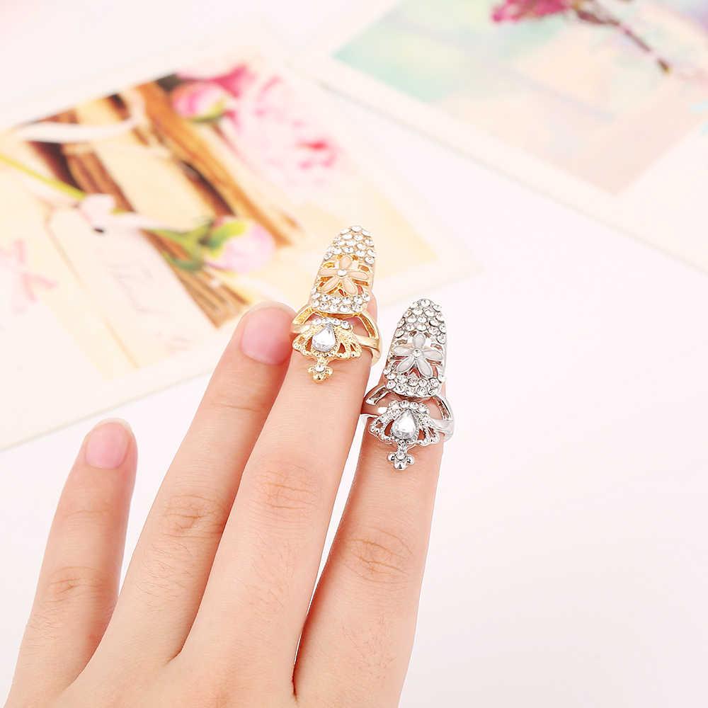 2016 nouveauté mode charme placage or/argent couleur cristal petites fleurs couronne impériale creux doigt ongles anneaux pour les femmes