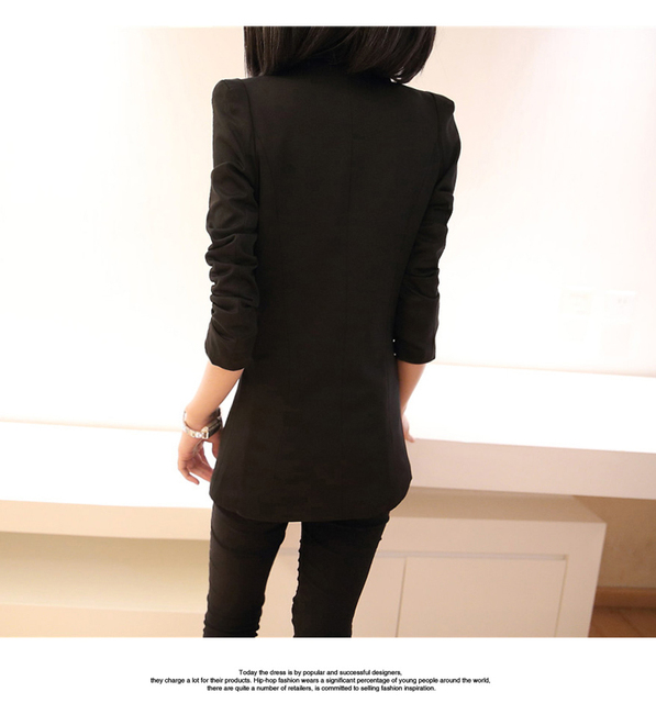 2018 autumn winter new stylish blazers for women cotton jackets lined with striped formal suit outerwear single button Jacket 5